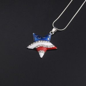 American Flag Star Pendant with Necklace